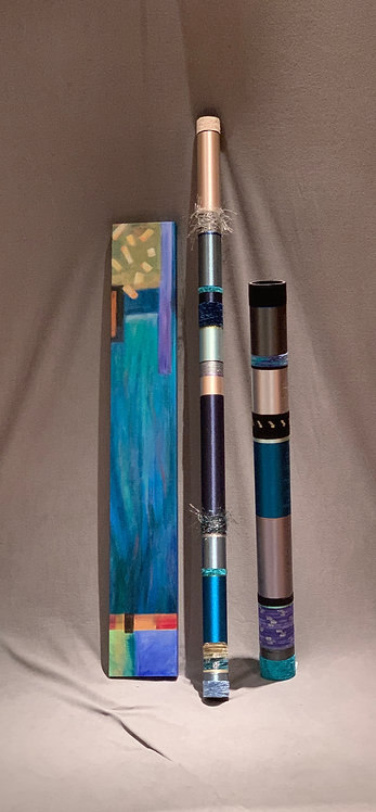 "Quiet Oboes and Liz Cummings 7""x 48"" Canvas in Blues"