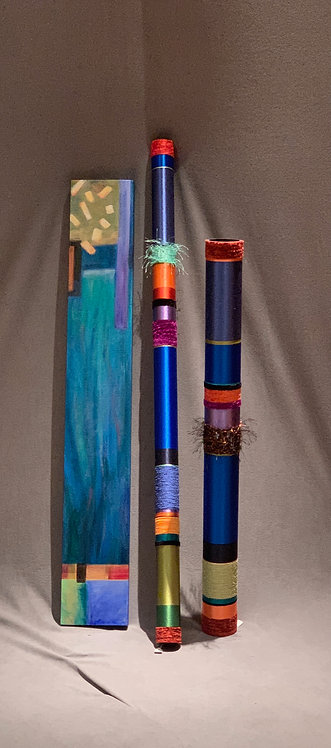 "Quiet Oboes and Liz Cummings 7""x 47"" Canvas in Blues"