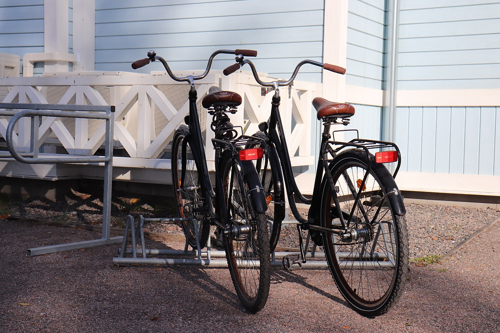 Bicycles parked at one of the museums in Tuusula, Finland