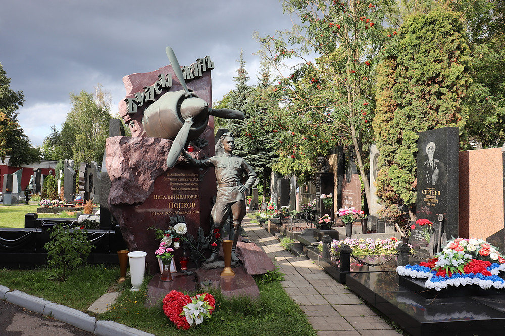 Novodevichy Cemetery elaborate tomb stones for famous people in russian history, moscow russia