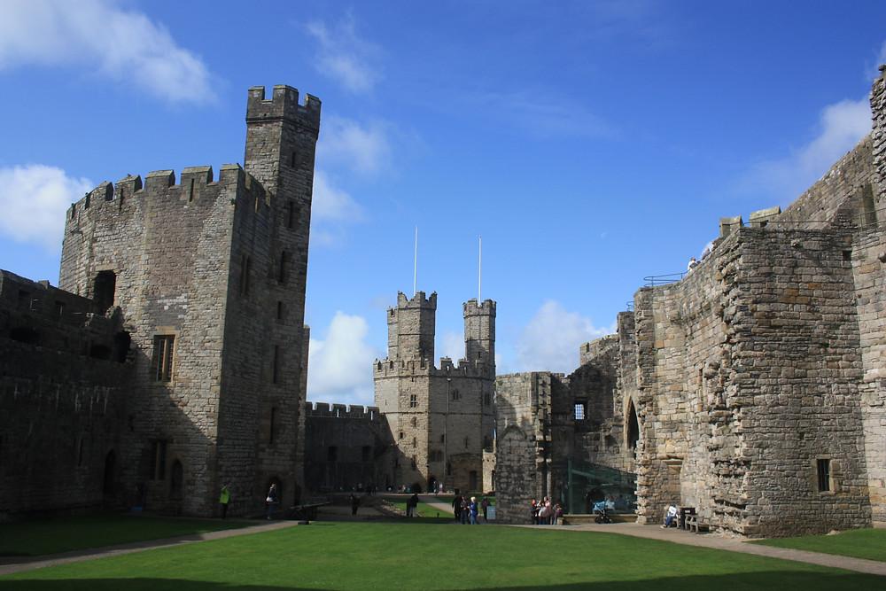Caernarfon Castle from the inside in Wales