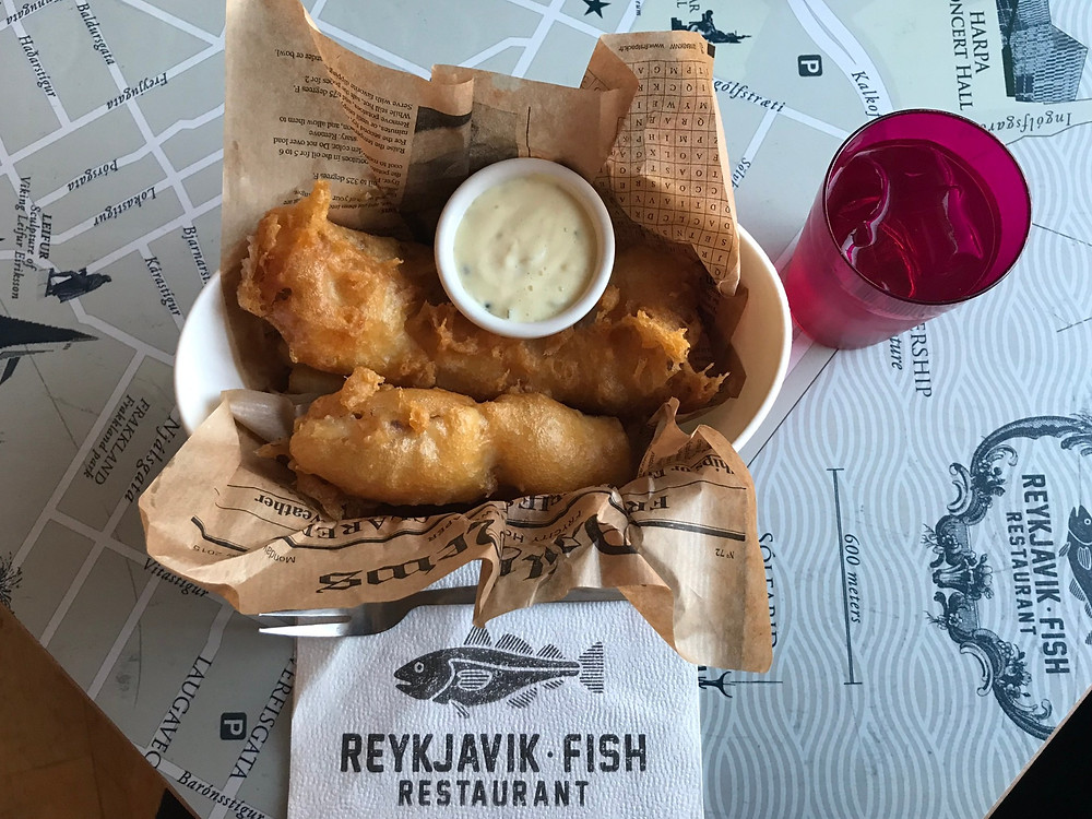 Fish and chips with tartar sauce from Reykjavik Fish Restaurant Iceland