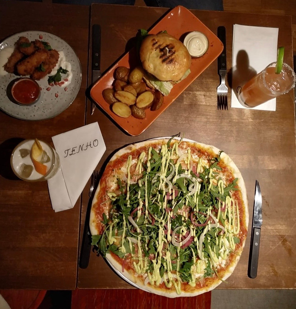Pizza and burger from Tenho Restobar Helsinki Finland