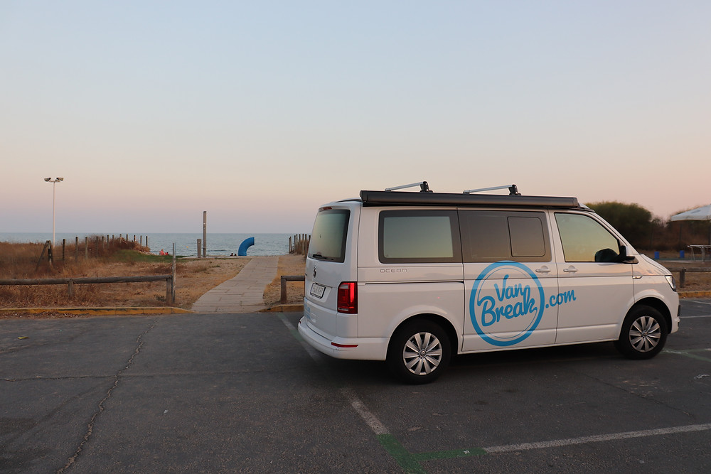 Van parked next to the beach in southern spain