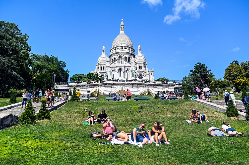Sacre Coeur in Paris from the bottom of the hill, France