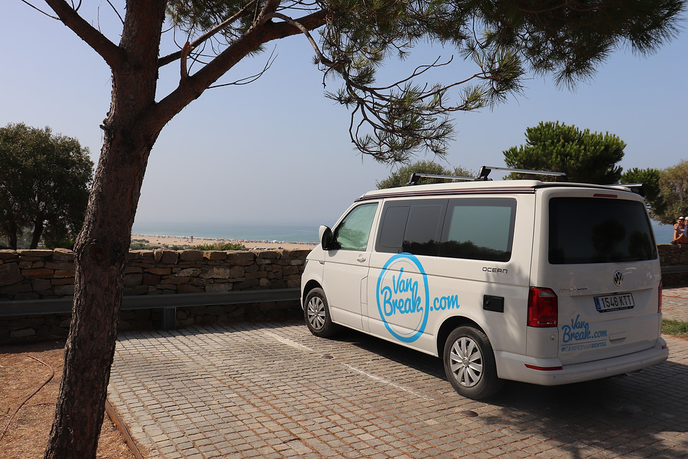 Van parked overlooking Baelo Claudia in southern spain