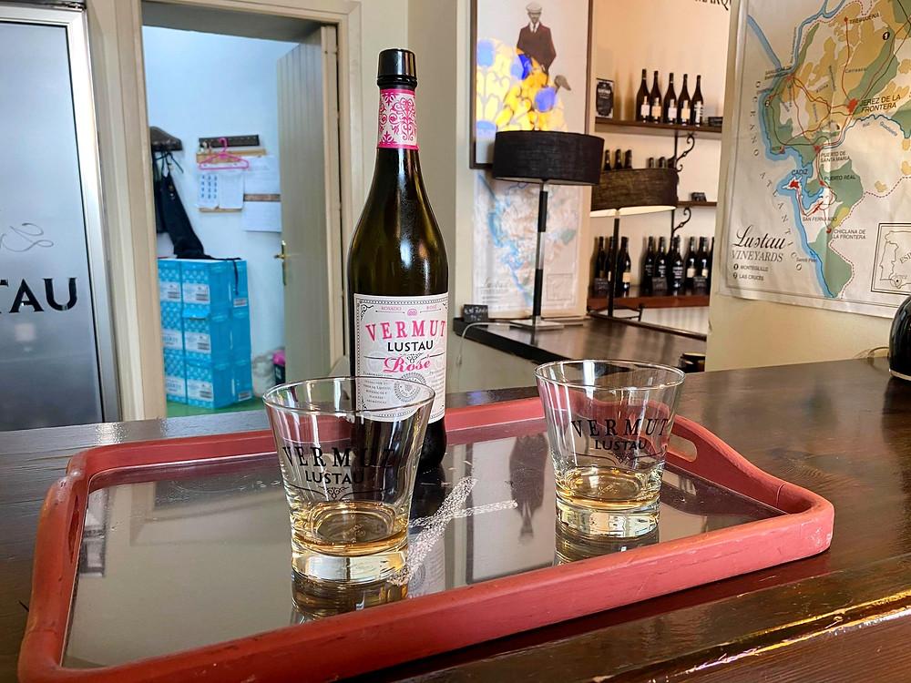 Two glasses and a bottle of Lustau's famous Vermut, Jerez, Cadiz