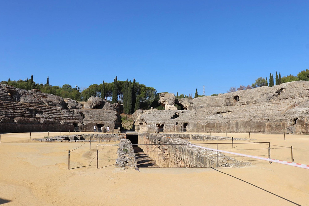 Itálica archaeological ruins, the amphitheatre with no people, outside Seville, Spain