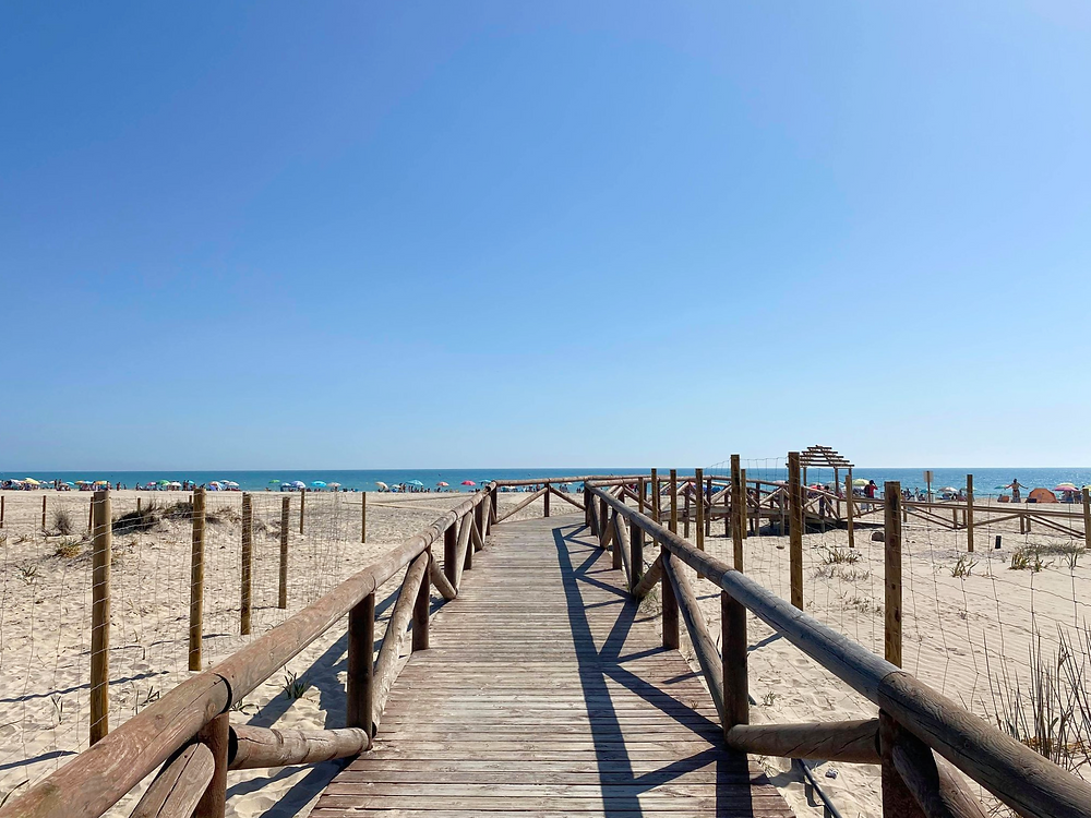 Playa de Camposoto walkway on the beach in Cadiz, Spain