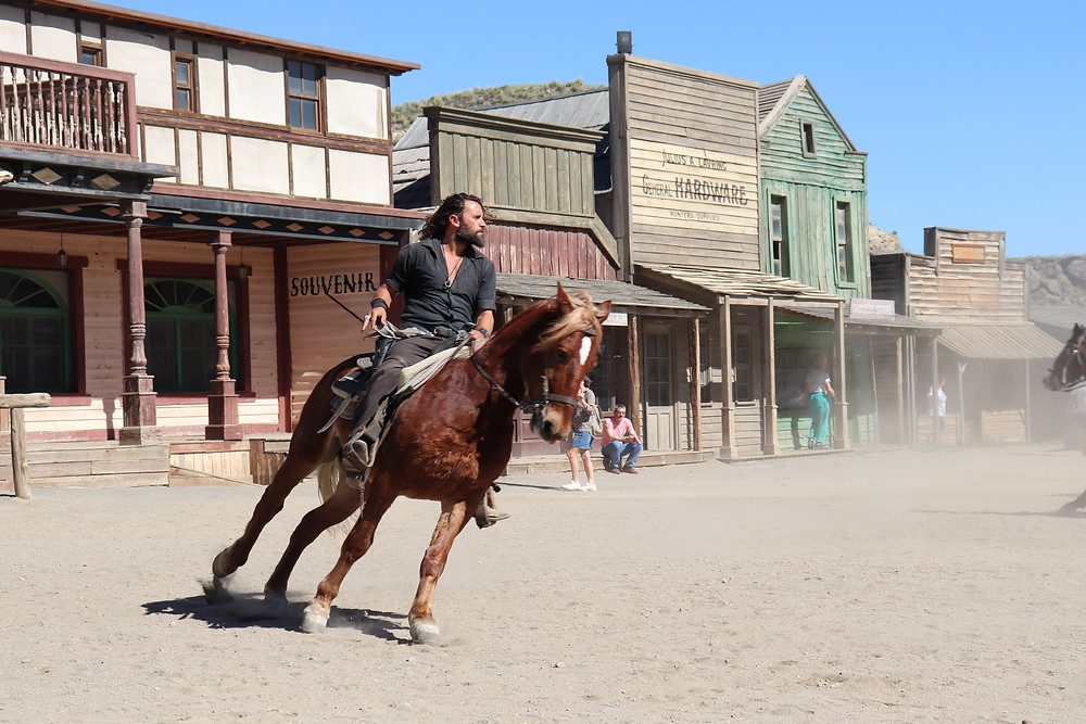 Cowboy show at fort bravo with horse riding gunslingers almeria southern spain