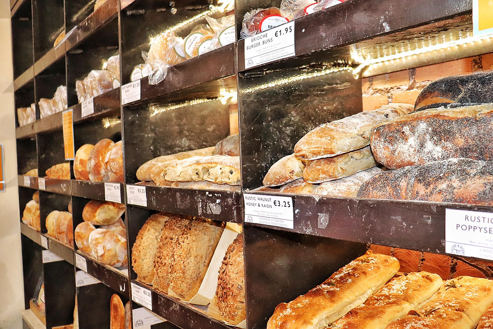 Display of different breads in a bakery in Dublin Ireland