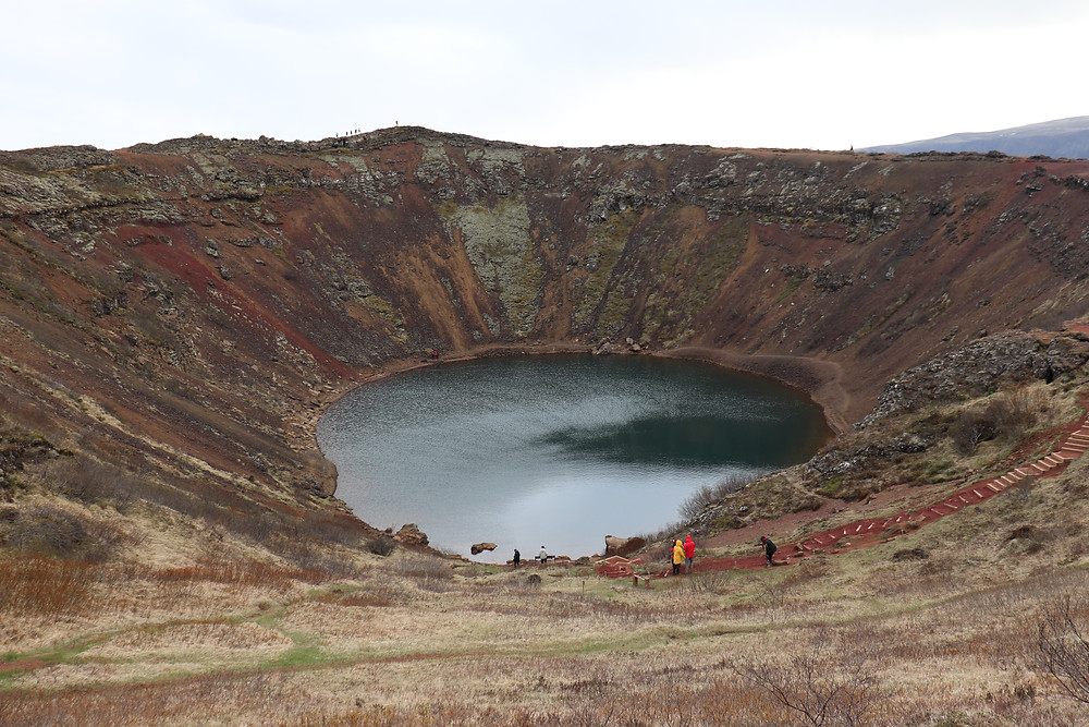 View of Kerid Crater from above in Iceland