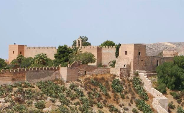 View of Alcazaba of Almería from outside of the walls in southern Spain