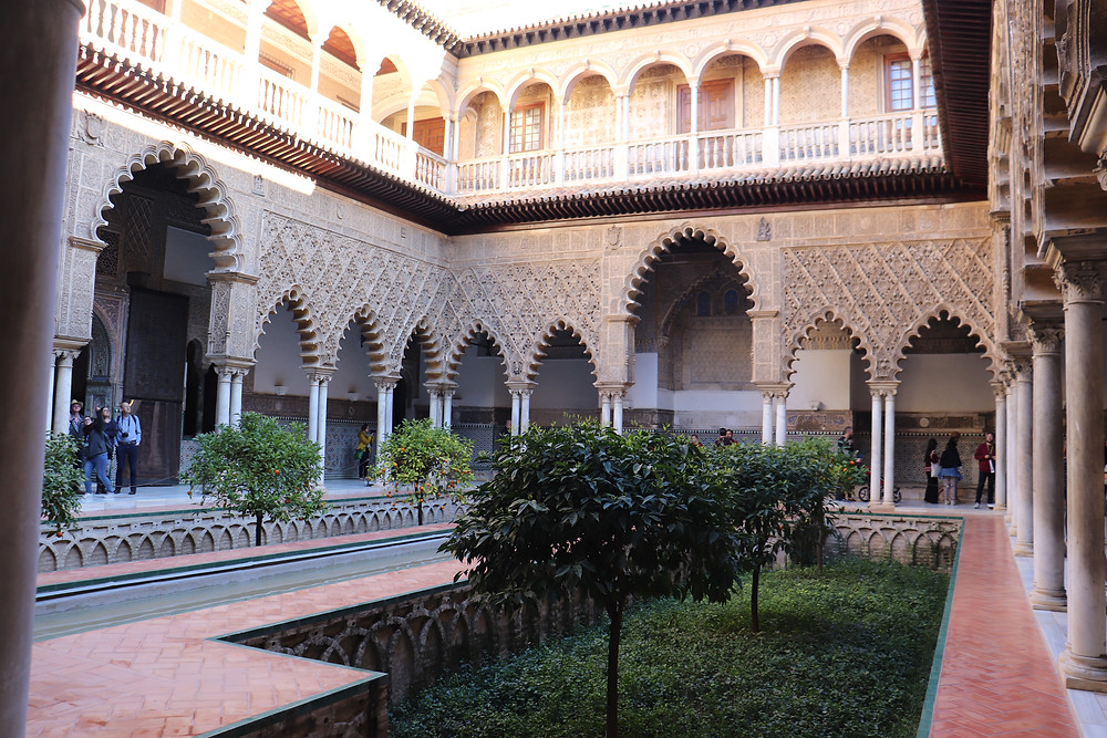 Real Alcazar de Sevilla inside the courtyard in southern spain