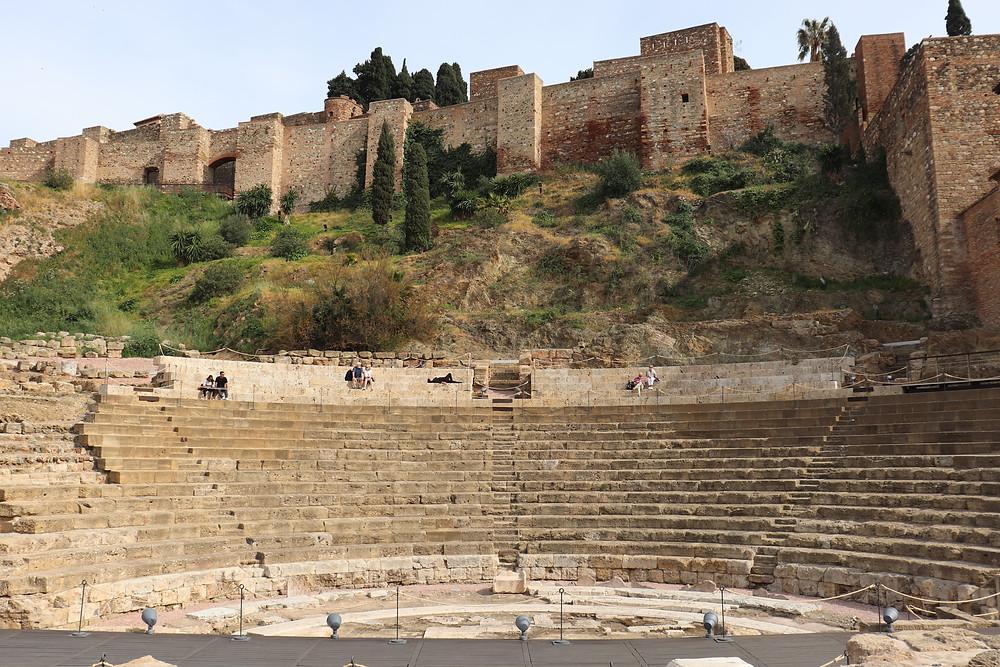 Roman Theatre & Castillo Gibralfaro in Malaga city centre Spain