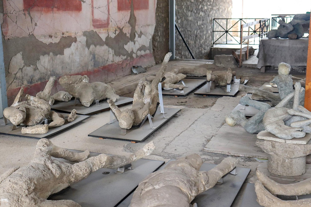 A selection of plaster cast people in different positions and one of a dog playing on his back, spread out on the floor inside a room in Pompeii.