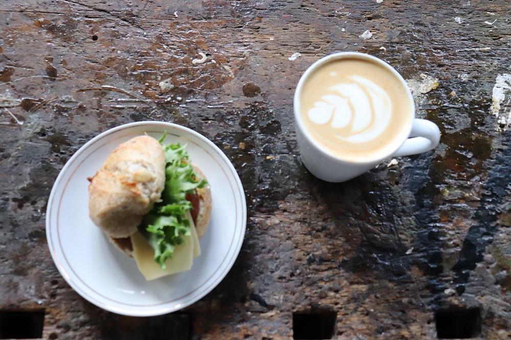 Helsingin Kahvipaahtimo coffee and sandwich in Teurastamo area Helsinki Finland