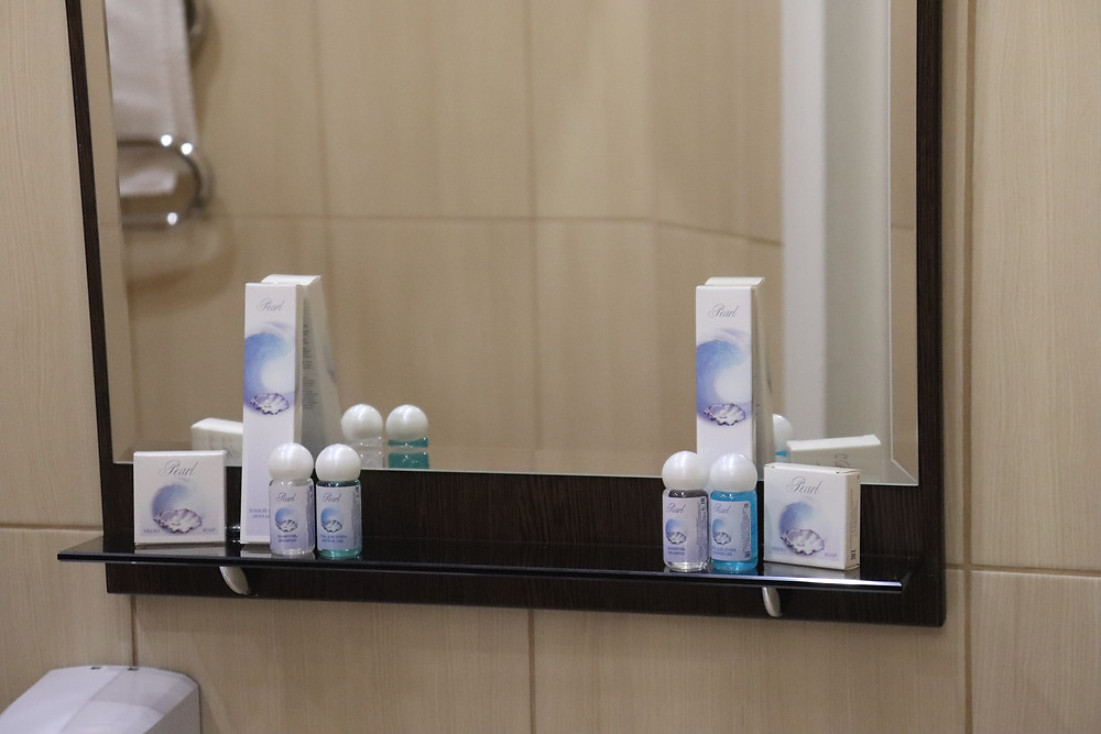 Toiletries in the bathroom in double bedded room Hotel Esplanada russia