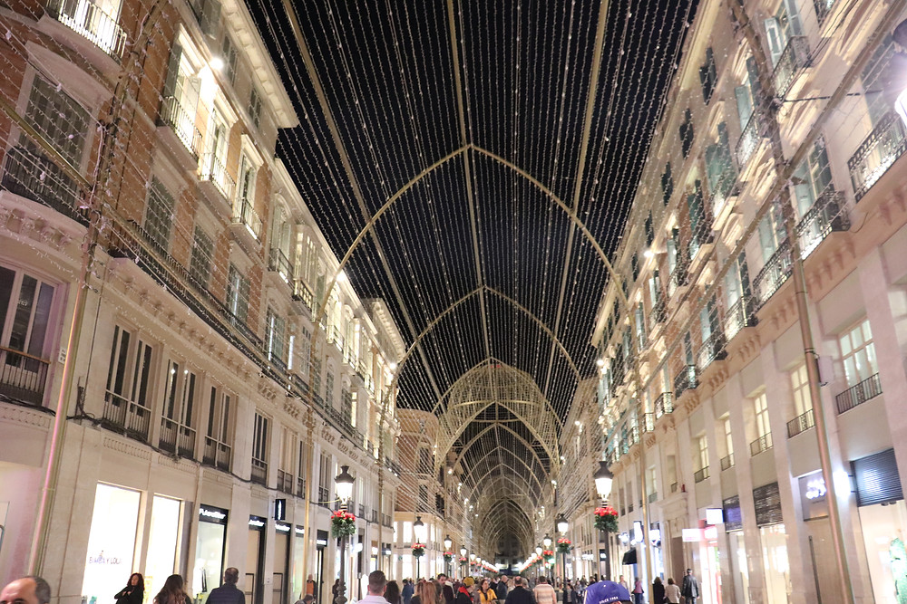Calle Marques de Larios at night with lights display Malaga Spain
