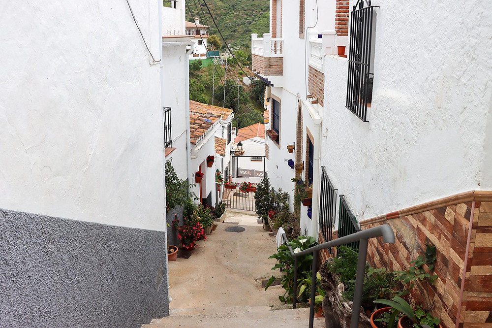 Whitewashed street in a small village.