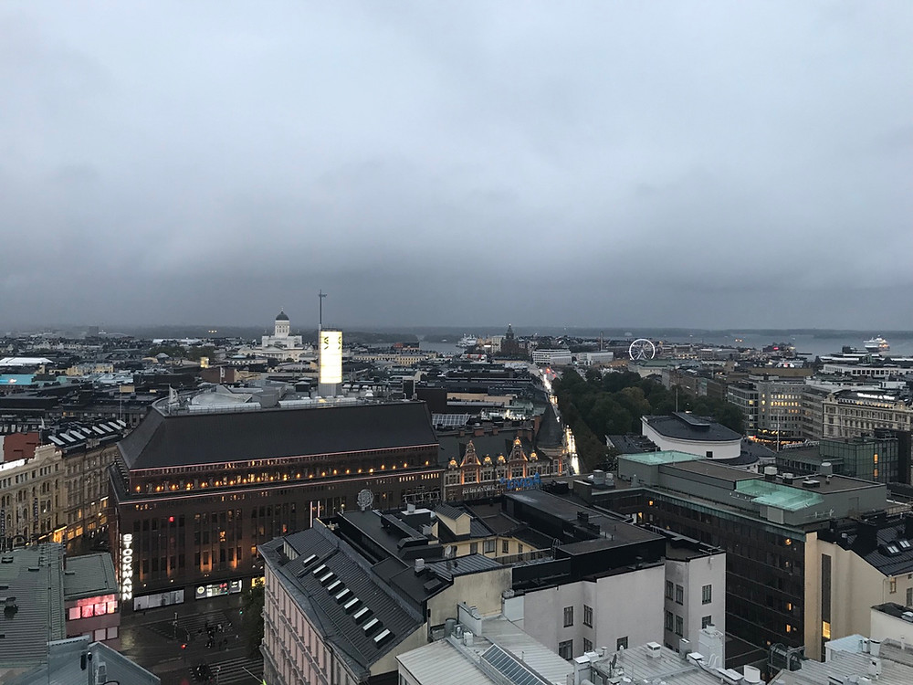 View of Helsinki Finland from the rooftop of Hotel Torni