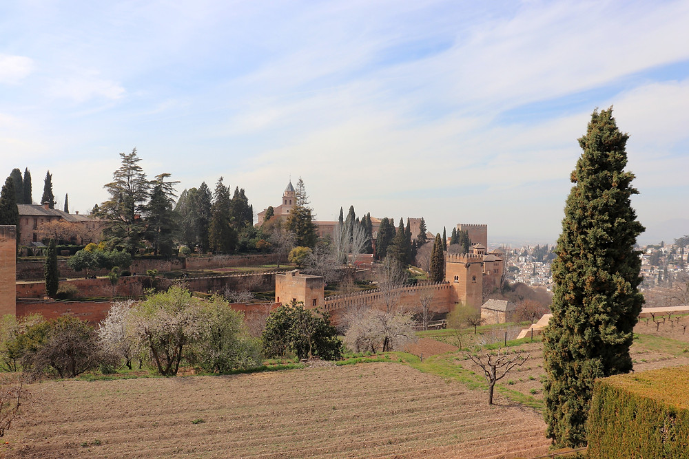 View of the Alhambra palaces from the gardens in Granada, Spain