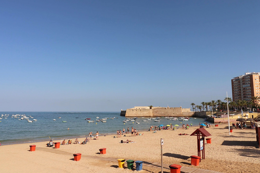 La Caleta beach in Cadiz historic centre, Spain