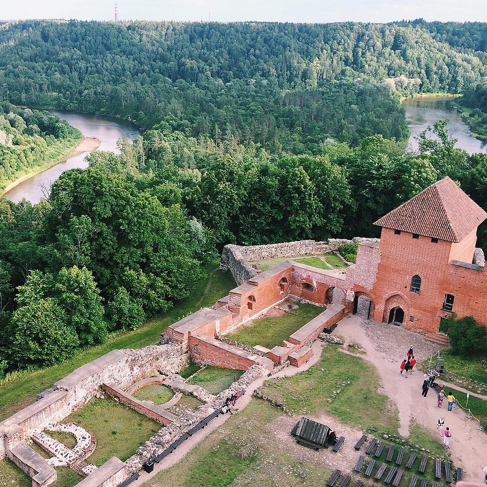 Aerial view of Turaida Castle in Sigulda, Latvia
