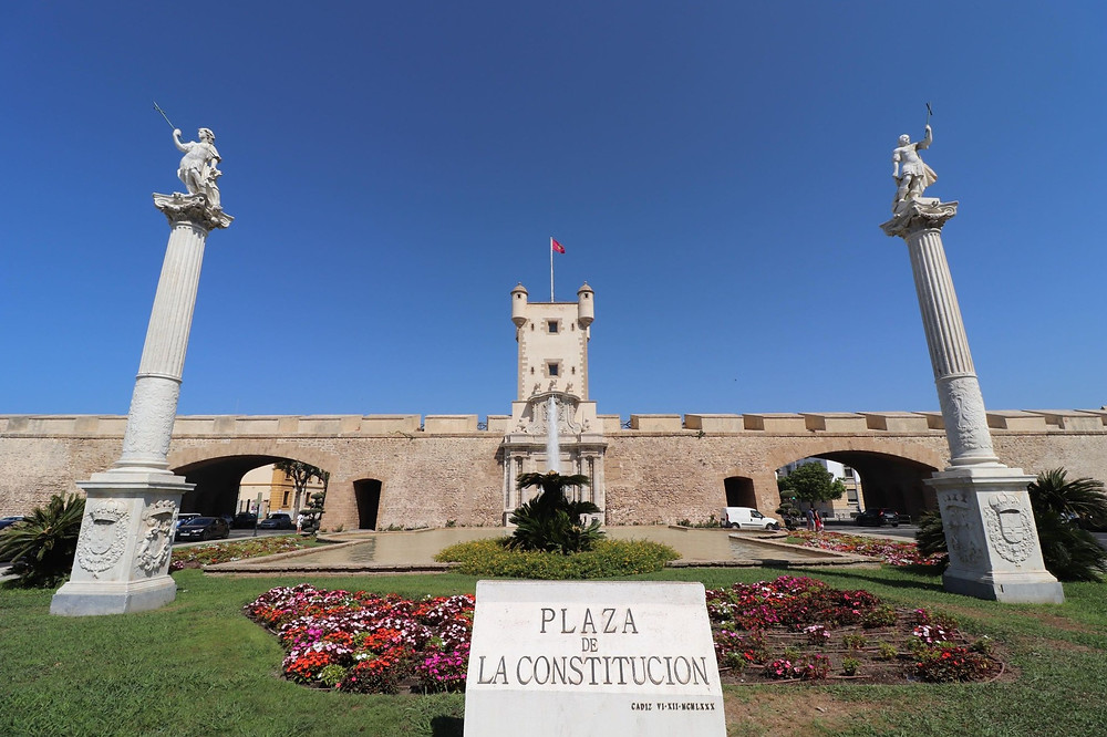 Puerta de Tierra in Plaza de la Constitucion in Cadiz, Spain