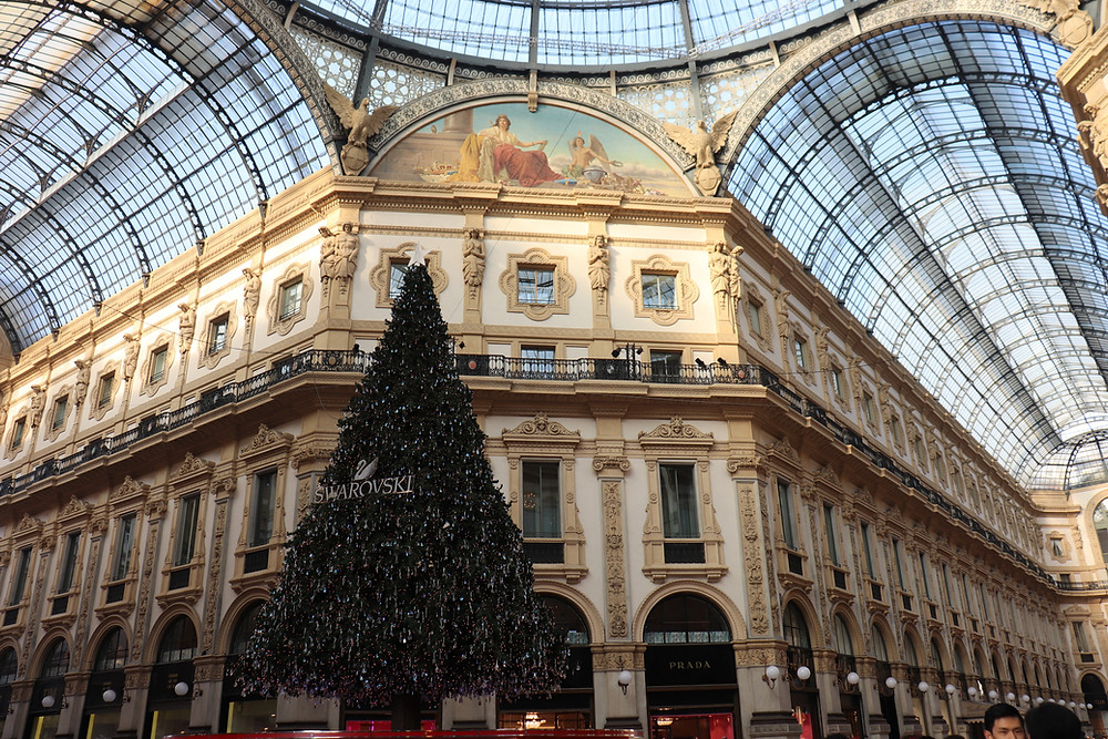 Inside the Galleria Vittorio Emanuele II in Milan Italy