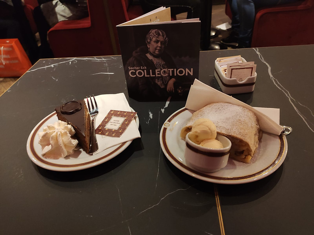 Famous sacher torte and apple strudel