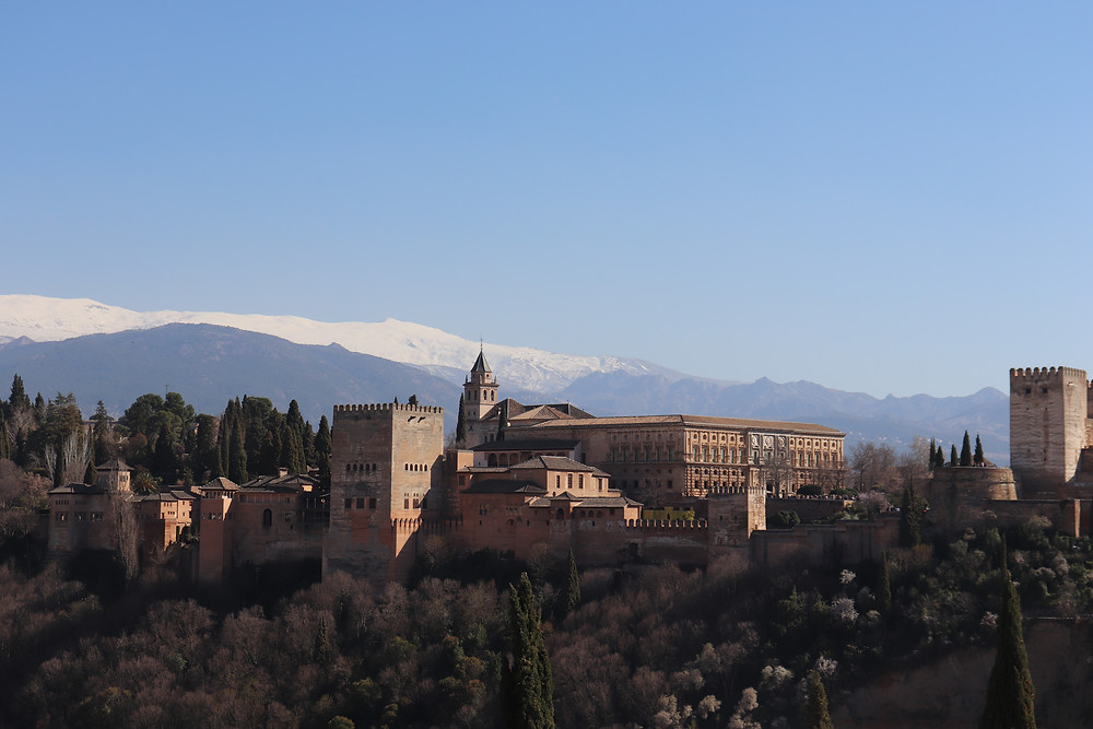 View of the city of granada and the alhambra in souhern spain