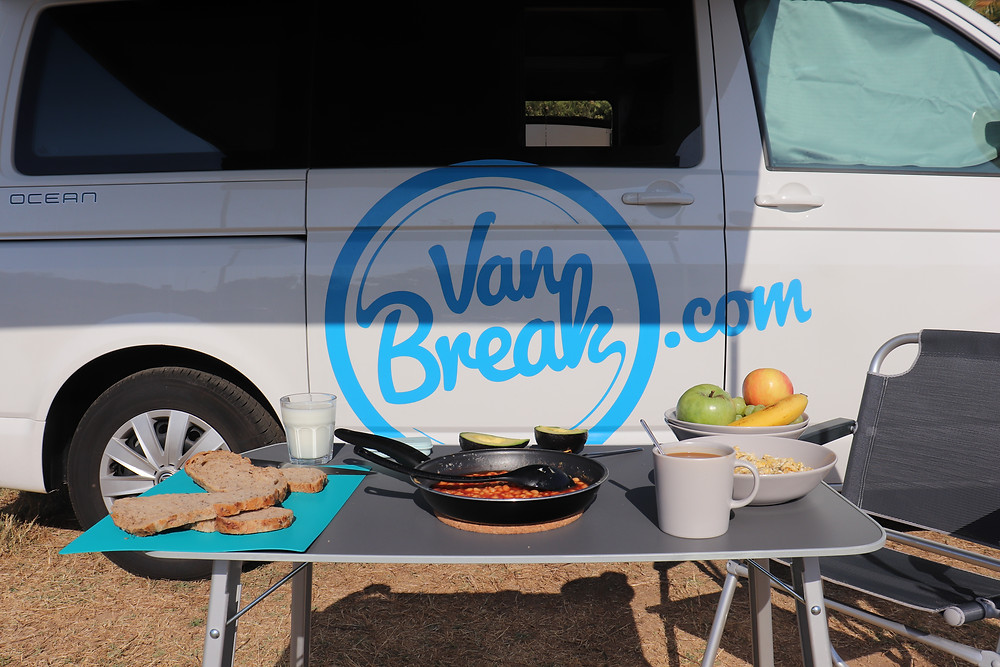 Breakfast made in the van sitting outside in southern spain