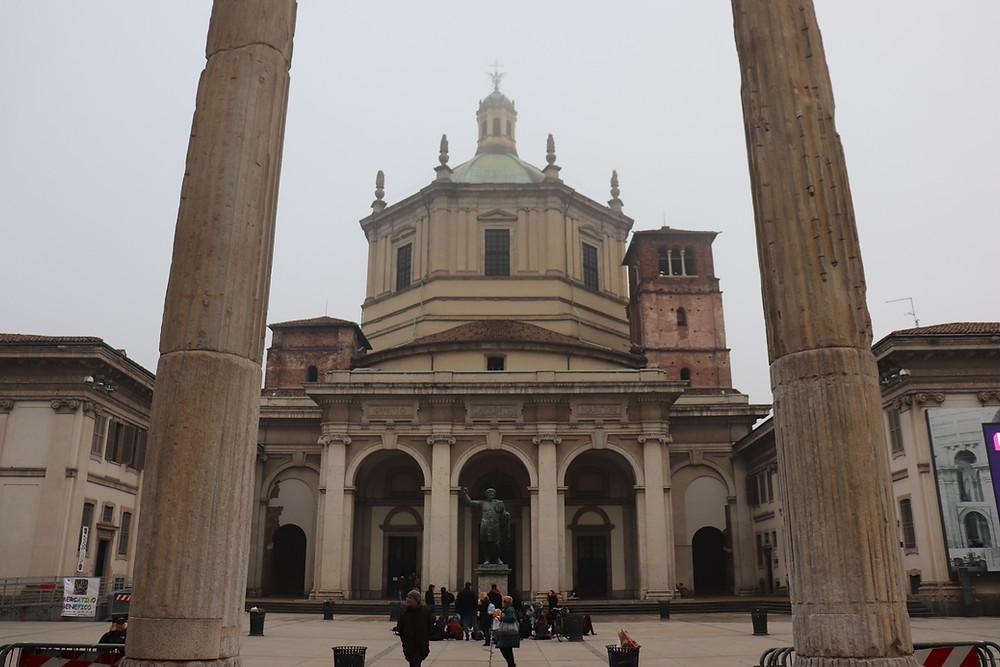 Colonne di San Lorenzo and Basilica di San Lorenzo Milan Italy