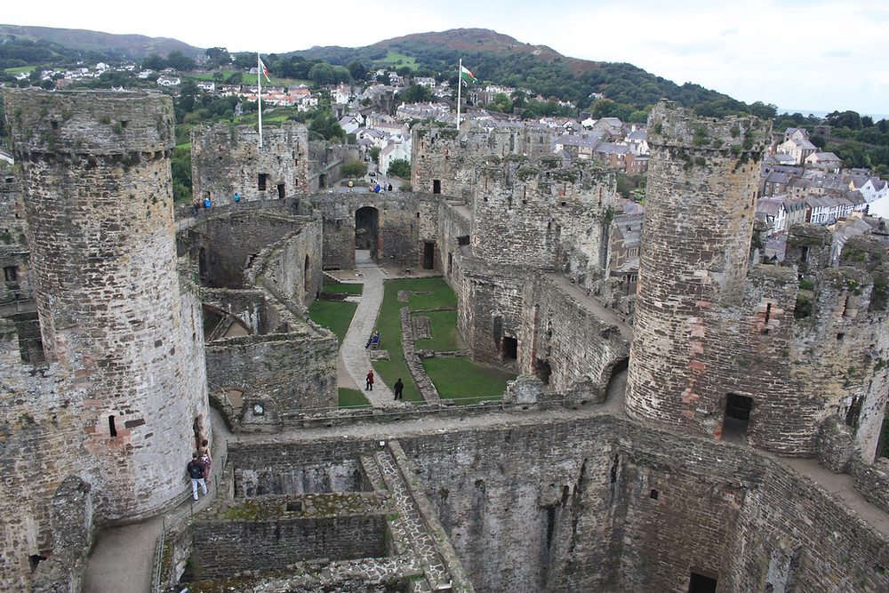 Conwy Castle from the top of the tower in Wales