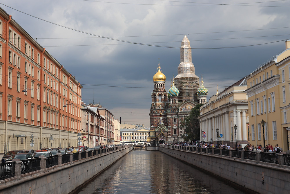 View of the river beside Church of the Savior on Spilled Blood st petersburg russia