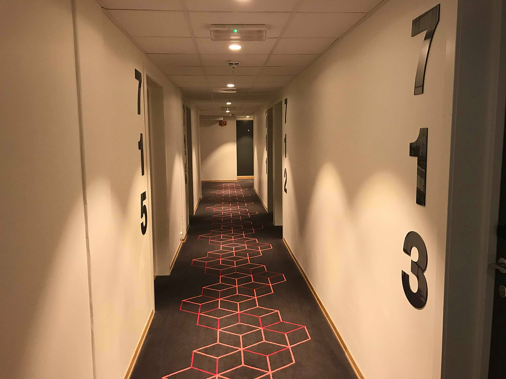 Hallway on the seventh floor in Citybox Oslo, Norway