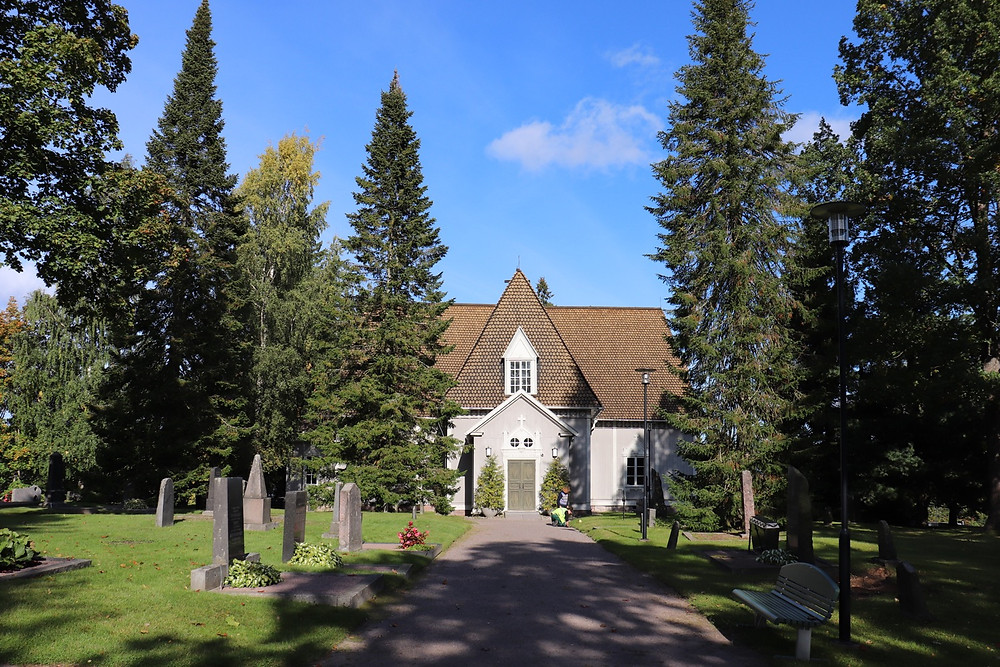 Tuusula church from the outside on a sunny day, Tuusula Finland