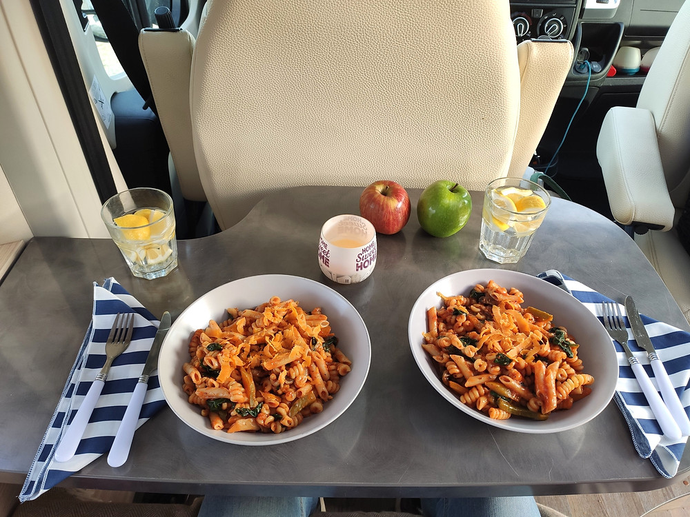 Pasta lunch during our driving break Malaga