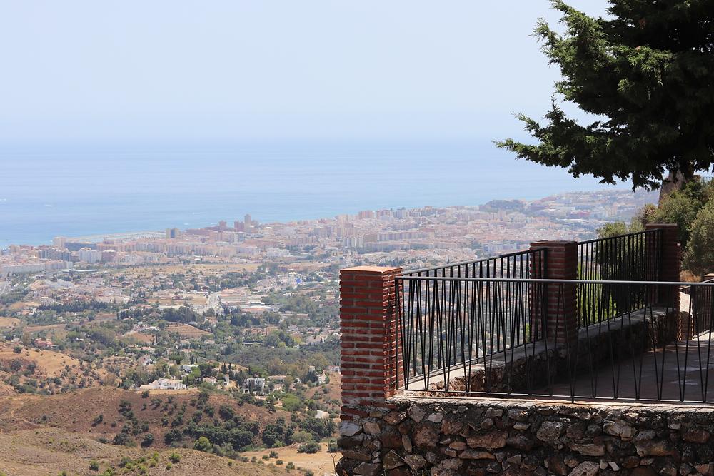 Views of the coast from Castillo de Mijas outer walls in Mijas, Spain