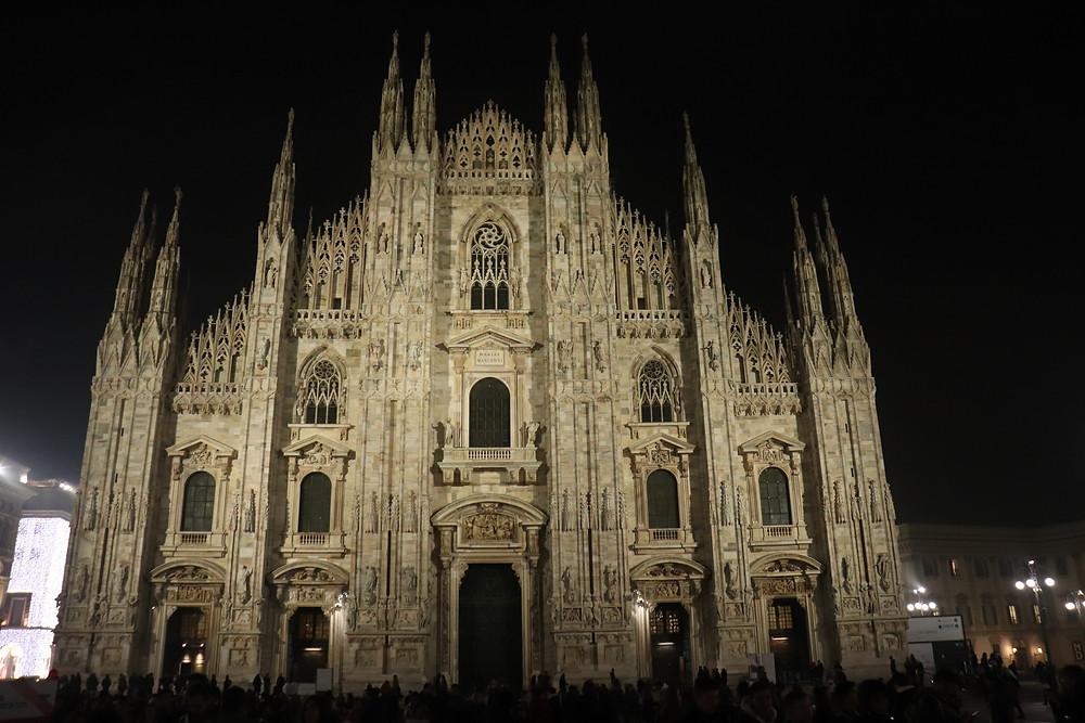 Milan Duomo lit up at night