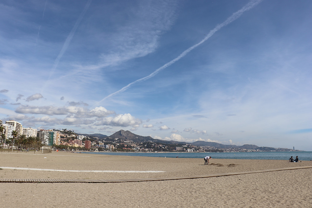 La Malagueta Beach in Malaga Spain on a sunny day