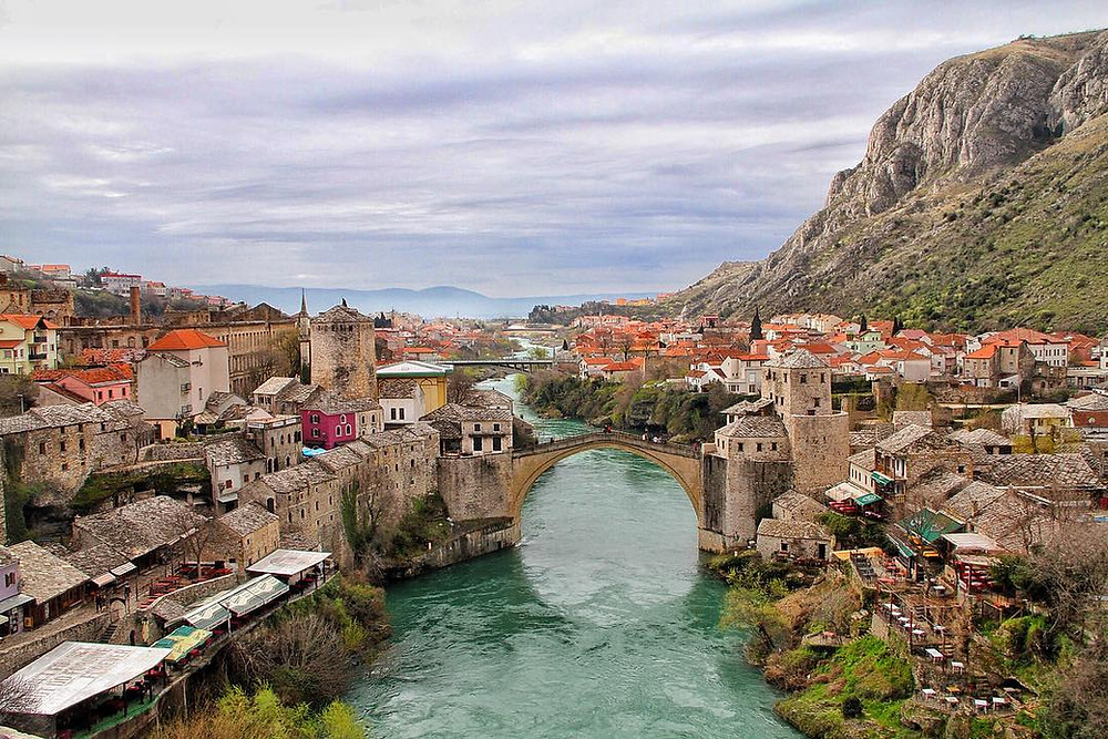 Mostar and Mostar bridge in Bosnia