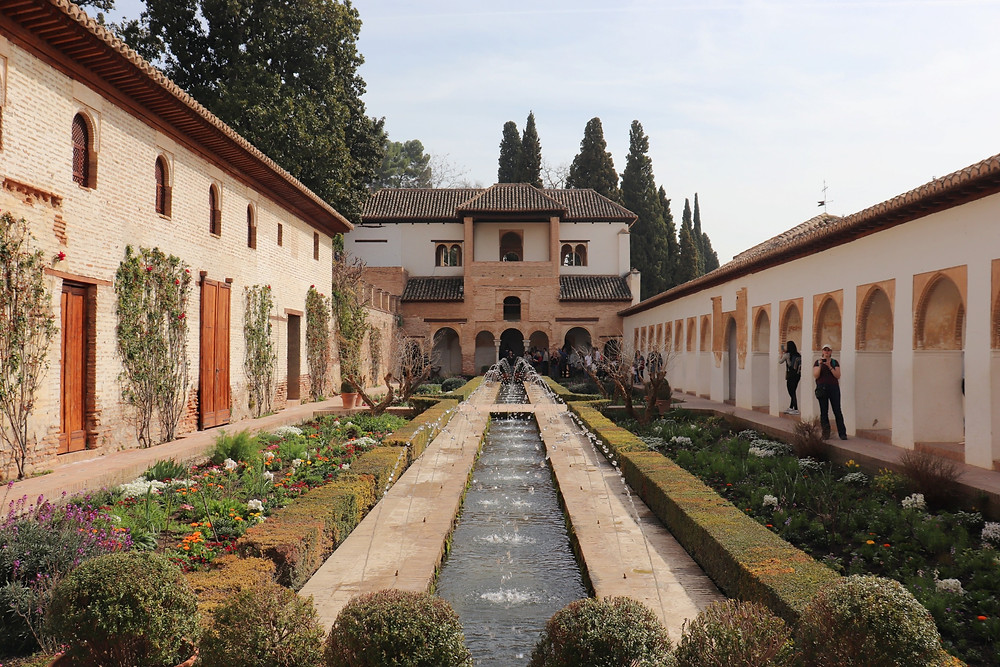 One of the courtyards in the Generalife gardens inside the Alhambra in Granada, Spain