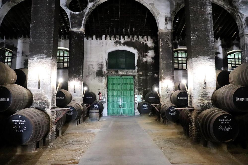 Large room storing Barbadillo wine in Sanlucar de Barrameda, Cadiz