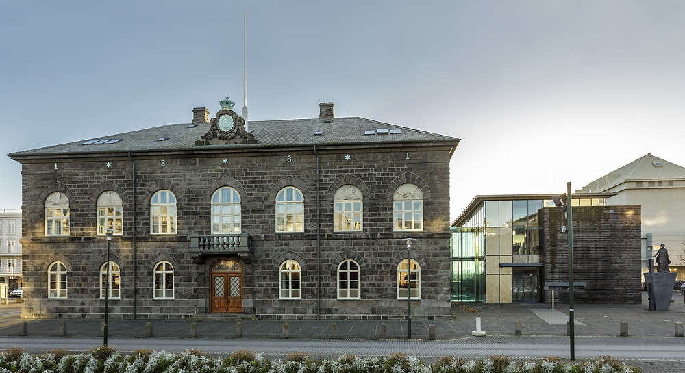 Exterior of the Parliament House in Reykjavik, Iceland