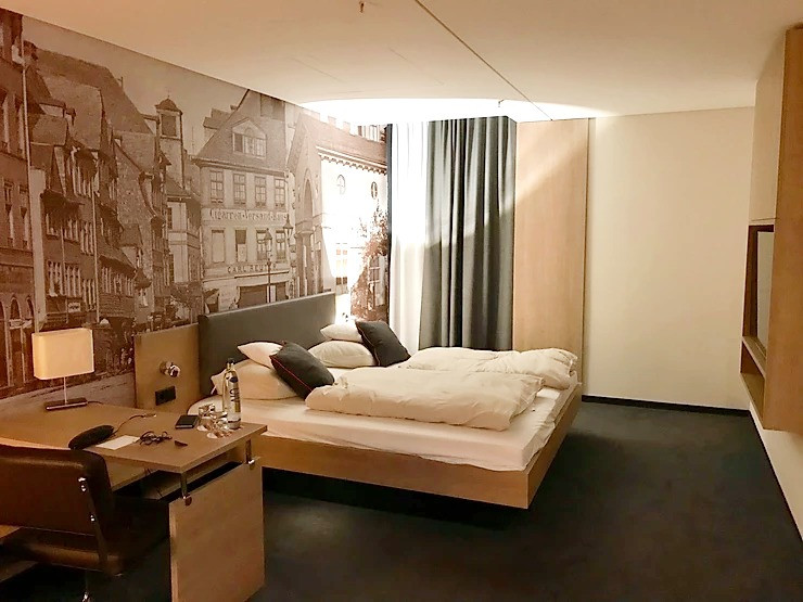 Double bedded room inside Living Hotel Frankfurt, Germany