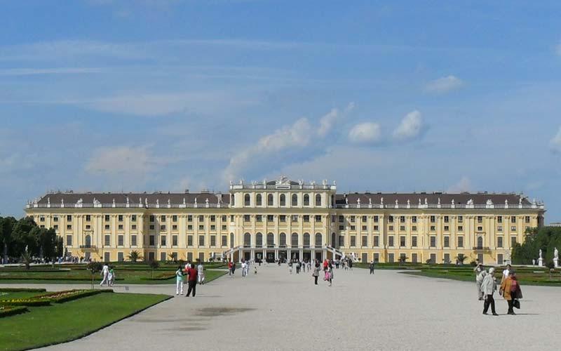 Schonbrunn Palace from the gardens in Vienna, Austria