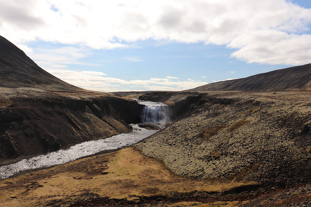 Thorufoss Waterfall on a sunny day in iceland