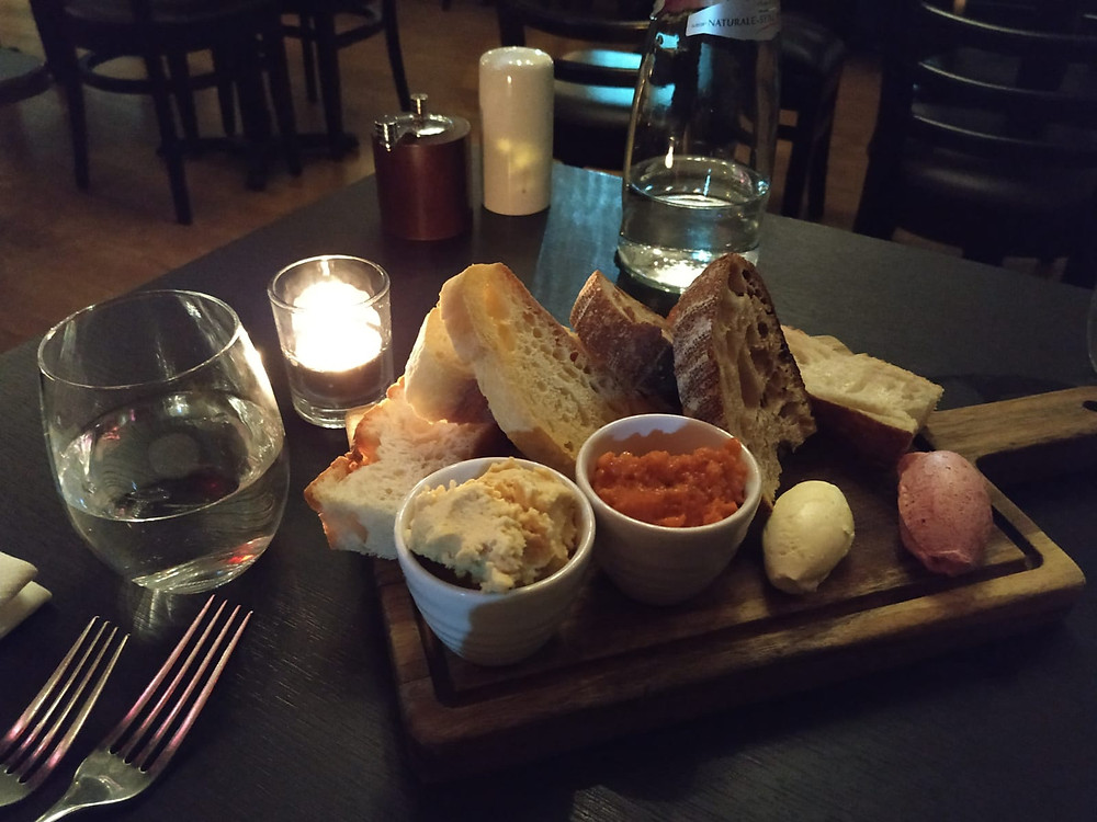 Amarone restaurant bread and spread platter in Bath, England